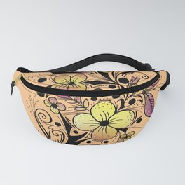 Flower Tattoo in Yellow and Purple Fanny Pack