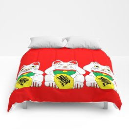 Three Wise Lucky Cats on Red Comforters