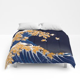 Shiba Inu The Great Wave in Night Comforters