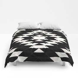 Urban Tribal Pattern No.14 - Aztec - Black Concrete Comforters