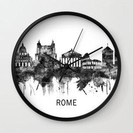Rome Italy Skyline BW Wall Clock