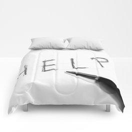 Pen Help Black White Comforters