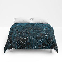Night light city / Lineart city in blue Comforters