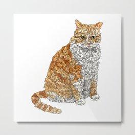 Tabby Bunny Kitty Metal Print
