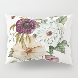 Colorful Wildflower Bouquet on White Pillow Sham