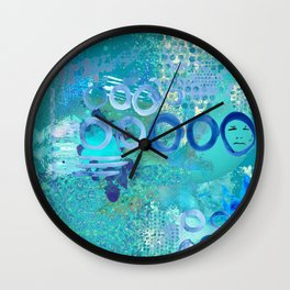 Blue Heaven Abstract Art Collage Wall Clock