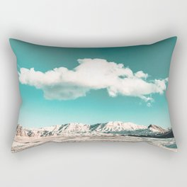 Vintage Desert Snow Cloud // Scenic Desert Landscape in Winter Fluffy Clouds Snow Mountains Cacti Rectangular Pillow