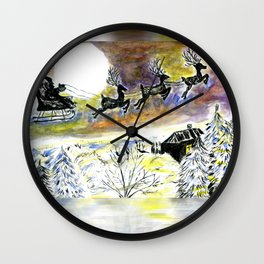 Santa Night Flight Wall Clock