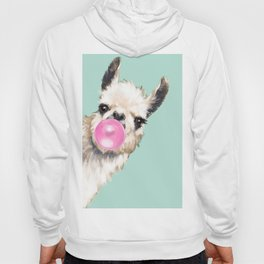 Bubble Gum Sneaky Llama in Green Hoody