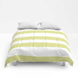 VA Lime Green - Lime Mousse - Bright Cactus Green - Celery Hand Drawn Fat Horizontal Lines on White Comforters