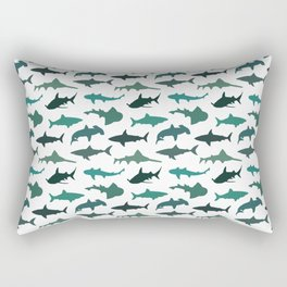 Green Sharks Rectangular Pillow