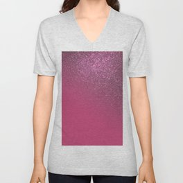 Diagonal Berry Pink Glitter Gradient Ombre Unisex V-Neck