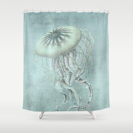 Jellyfish Underwater Aqua Turquoise Art Shower Curtain