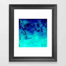 Mermaid paradise   blue ombre turquoise watercolor Framed Art Print