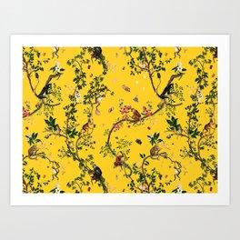 Monkey World Yellow Art Print