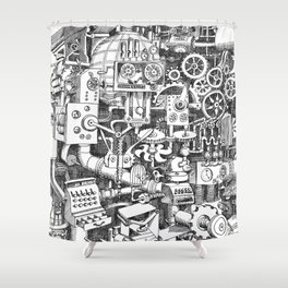 DINNER TIME FOR THE ROBOT Shower Curtain