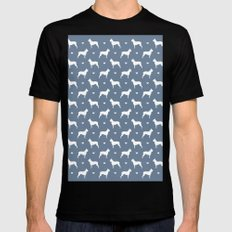 boston terrier silhouette pattern Mens Fitted Tee MEDIUM Black