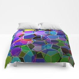 Geometric Genetics - Metallic, abstract, geometric pattern Comforters