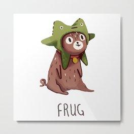 Pug in a frog costume.. Frug. Metal Print