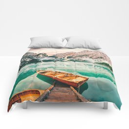 Boats on the lake Comforters