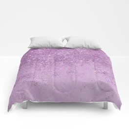 Abstract glam violet lilac marble glitter Comforters