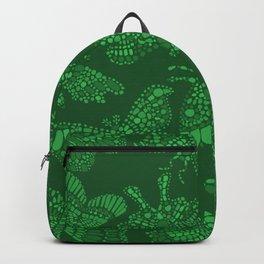 Butterfly Pattern Green Backpack