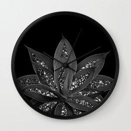 Gray Black Agave with Black Silver Glitter #2 #shiny #tropical #decor #art #society6 Wall Clock