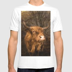 Highland Toffee Coo Mens Fitted Tee White MEDIUM