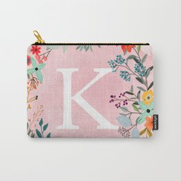 Flower Wreath with Personalized Monogram Initial Letter K on Pink Watercolor Paper Texture Artwork Carry-All Pouch