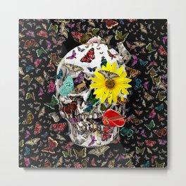 Skull Flowers Animals on Black   Butterflies Metal Print