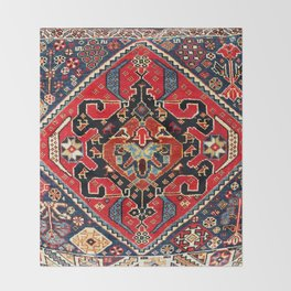 Qashqa'i Antique Fars Persian Bag Face Print Throw Blanket