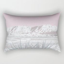 Mojave Snow // Red Rock Canyon Las Vegas Desert Landscape Light Pink Sky Vintage Photography Rectangular Pillow