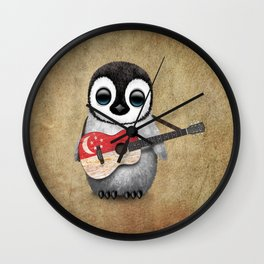 Baby Penguin Playing Singapore Flag Guitar Wall Clock