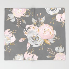 Night Rose Garden Gray Throw Blanket
