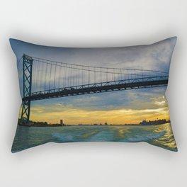 The Ambassador Bridge connects Detroit USA, & Windsor CA Rectangular Pillow