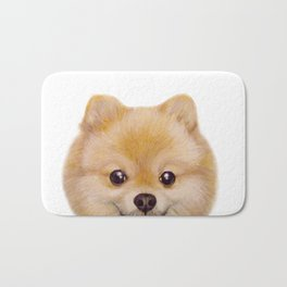 Pomeranian Dog illustration original painting print Bath Mat
