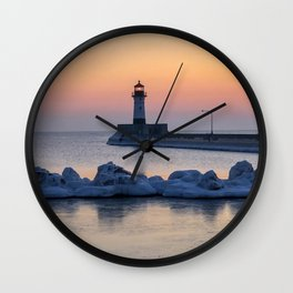 Sunrise at North Pier Lighthouse Wall Clock