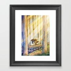 Bear Skating in Woods Framed Art Print