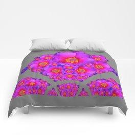 Modern Art Fuchsia Purple-Blue  Rose Flowers Grey Pattern Comforters