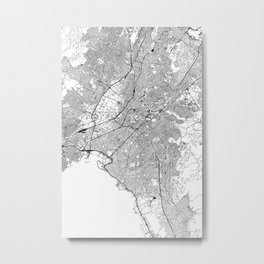 Athens White Map Metal Print