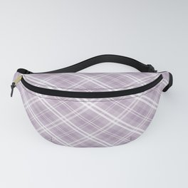 Dark Chalky Pastel Purple and White Tartan Plaid Check Fanny Pack