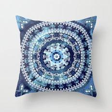 Marina Blue Mandala Throw Pillow