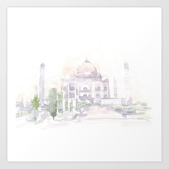 Watercolor landscape illustration_India - Taj Mahal Art Print