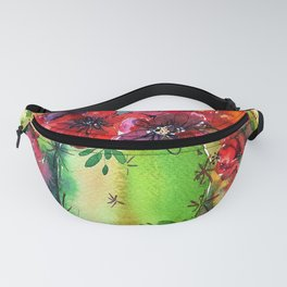 Honey Barrel Cactus Flowers Watercolor Fanny Pack