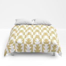 Art Deco Jagged Edge Pattern Gold Comforters