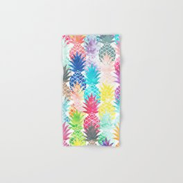 Hawaiian Pineapple Pattern Tropical Watercolor Hand & Bath Towel