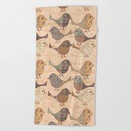 Nostalgic Autumn Patchwork Bird Pattern in warm retro colors #autumndecoration Beach Towel