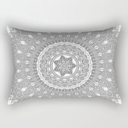 Black and White Feather Mandala Boho Hippie Rectangular Pillow