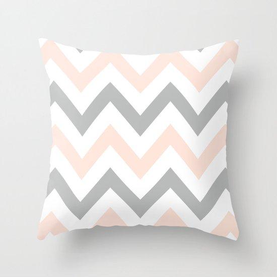 PEACH & GRAY CHEVRON Throw Pillow