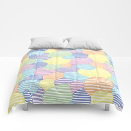 Circled Pastel Lines Comforters